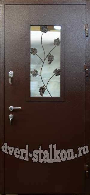 дачные металлические двери со стеклопакетом