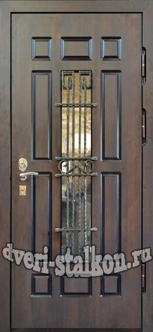 двери входные со стеклопакетом и ковкой для дачи