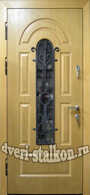 металлическая железная дверь со стеклом для дачи