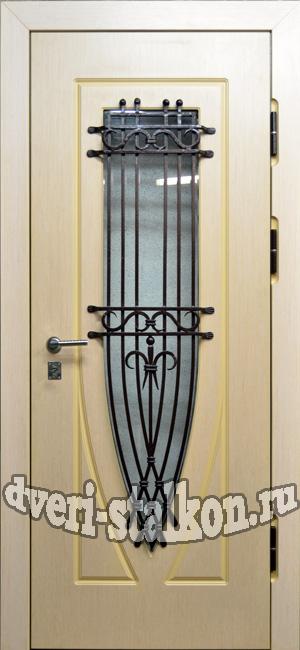 металлическая дверь для дачи со стеклом